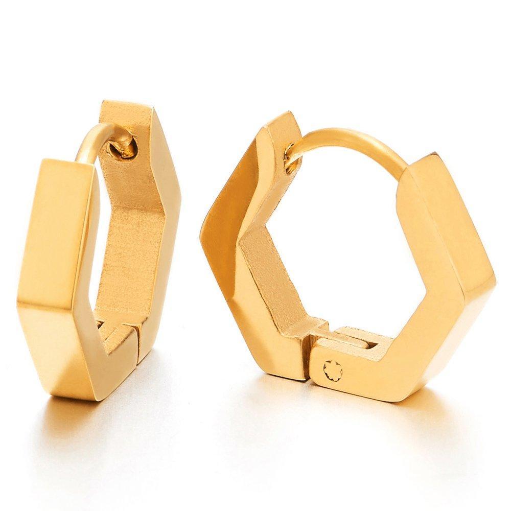 Pair Stainless Steel Plain Gold Hexagon Huggie Hinged Hoop Earrings for Unisex Men Women