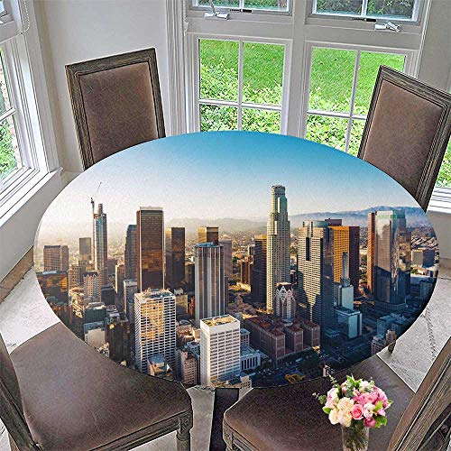 PINAFORE HOME Premium Tablecloth a Downtown Los Angeles at Sunset Everyday Use 63