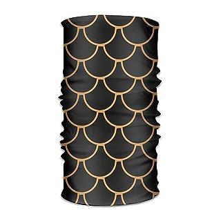 Uosliks Black Fish Scale Headwear Bandanas Seamless Men Women Headwear 12-in-1 Stretchable Magic Scarf Balaclava