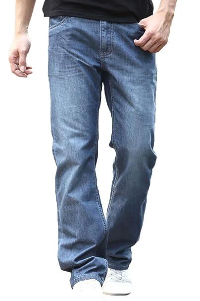 HX fashion Pantalones Vaqueros Rectos De Los Hombres ...