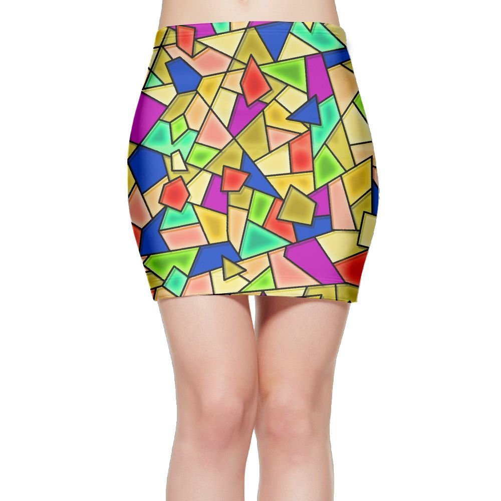 For Fun Women Colorful Glass Design Stretchy Mini Bodycon Slim Fit Skirt Medium