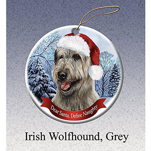 Holiday Pet Gifts Irish Wolfhound, Grey Santa Hat Dog Porcelain Christmas Tree Ornament ()