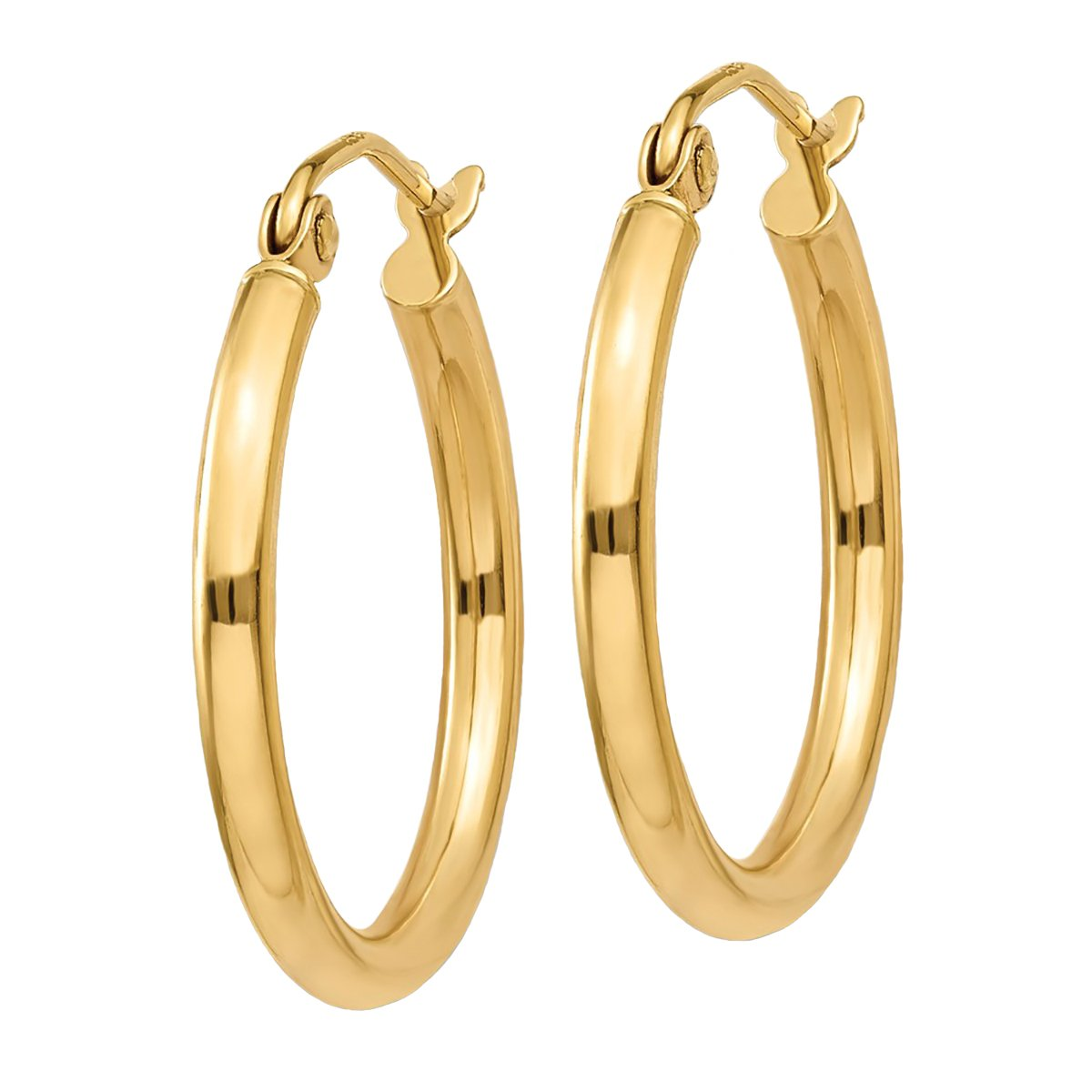 """Designs by Nathan, Classic 14K Yellow Gold Tube Hoop Earrings: Seamless, Hollow, and Lightweight (Regular 2mm x 20mm (about 3/4""""))"""