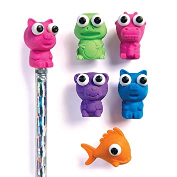 6x Pencils With Novelty Eraser Rubber Toppers Animal Shaped School Kids Children