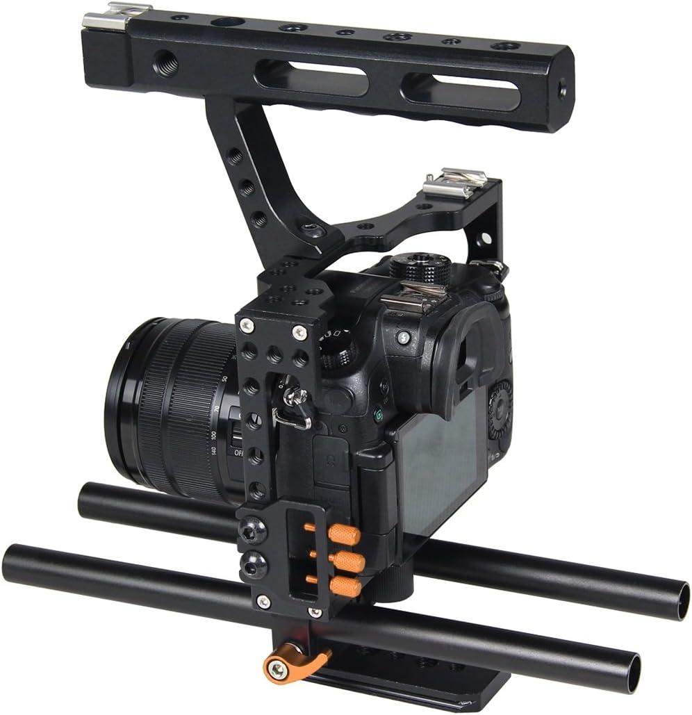 A7R II /& A7S II JINGZ Camera Cage Handle Stabilizer for Sony A7 /& A7S /& A7R Color : Red A7RIII /& A7 III Panasonic Lumix DMC-GH4 Durable