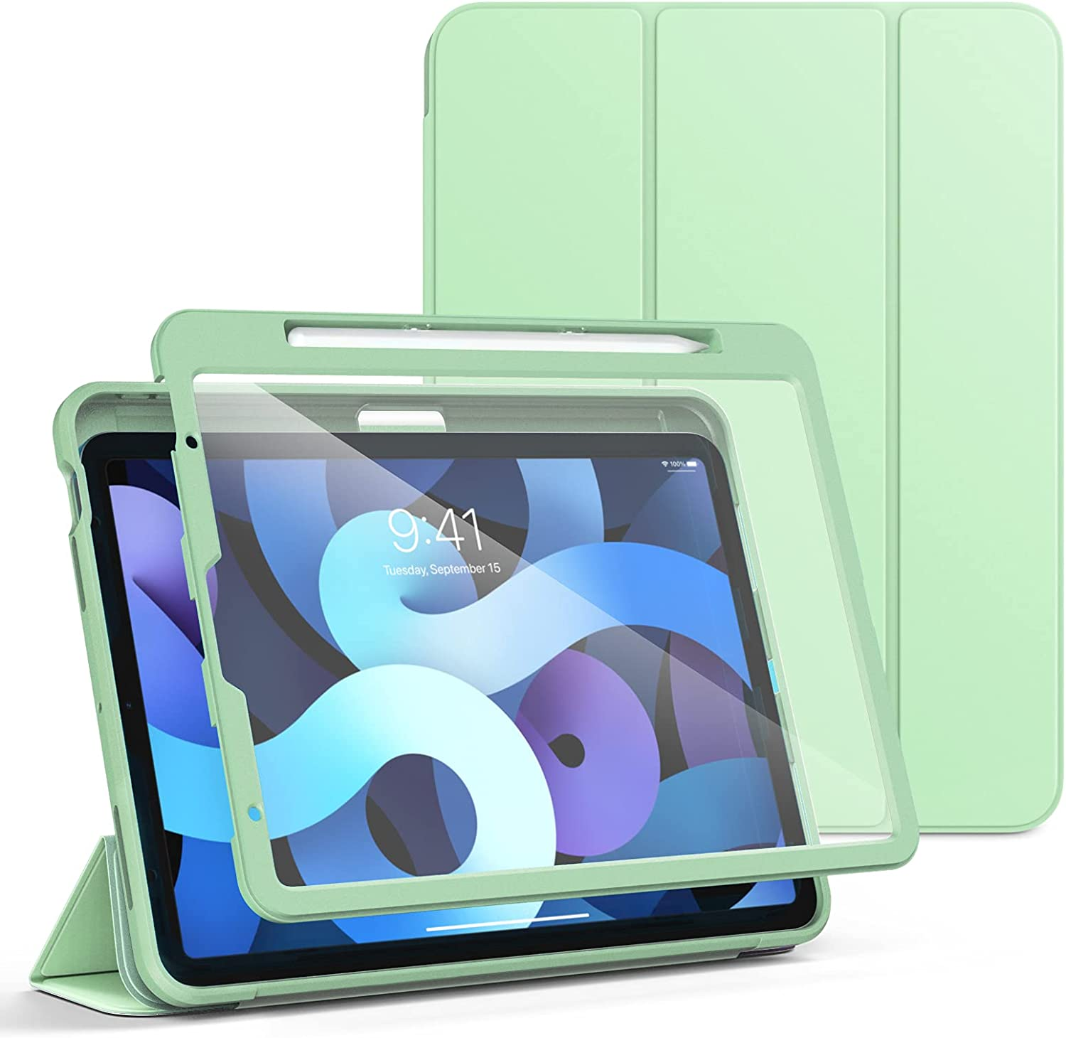 TiMOVO Case for New iPad Air 4th Generation, iPad Air 4 Case (10.9-inch, 2020), [Built-in Screen Protector] Slim Trifold Folio Cover with Apple Pencil Holder & Auto Sleep/Wake - Green