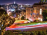 San Francisco's Lombard Street at Night Canvas Print by Michael Tidwell Photography