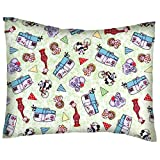 SheetWorld Crib / Toddler Percale Baby Pillow Case - Safari Animals Green - Made In USA