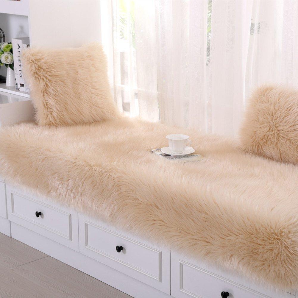 JiaQi Plush Bay Window mat,Soft Slipcover Sofa,Simple Modern Window mat Cushion Cozy Non-Slip Tatami Machine Washable-Beige 70x210cm(28x83inch)