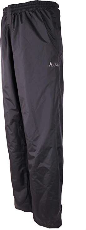 Image of a rain pants in black color, garterized waist with product logo on one side.