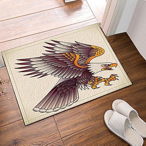 NYMB Animal Decor Bald Eagle Attacking Old  school Tattoo Design Bath Rugs NonSlip Doormat Floor Entryways Outdoor Indoor Front Door Mat Kids Bath Mat 157x236in Bathroom Accessories
