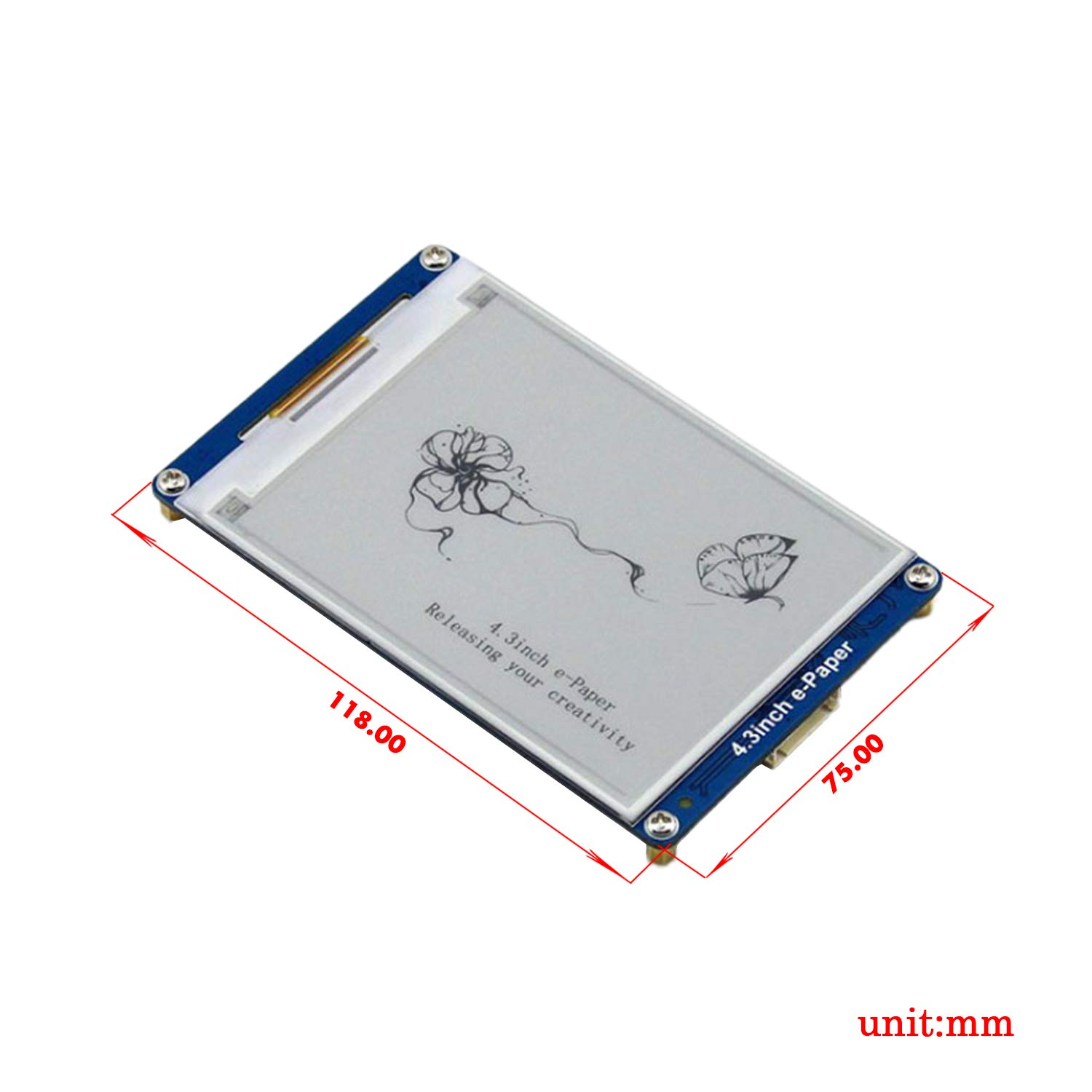 CQRobot E-Ink Display Module, 4.3 inch E-Paper Uart Module, Supports 32, 48 and 64 Dot Matrix GBK Chinese Fonts and English Fonts Serial Interface, 800x600 Resolution,Built-in 128Mb Nandflash. by CQRobot (Image #1)