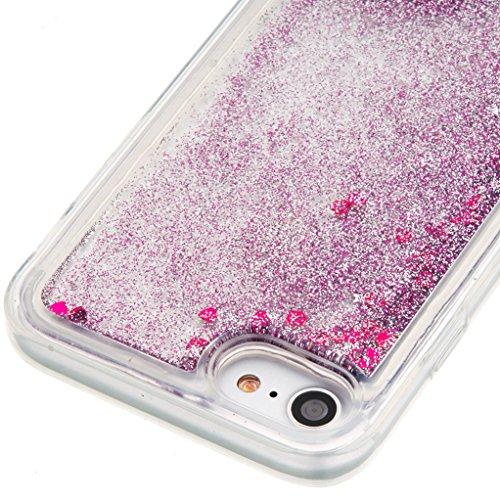 Trumpshop Smartphone Carcasa Funda Protección para Apple iPhone 5/5s/SE/5C + Dont Touch My Phone + TPU 3D Liquido Dinámica Sparkle Estrellas Quicksand Resistente a arañazos Caja Protectora Púrpura