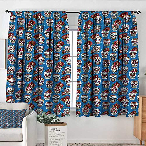 Sugar Skull Window Curtain Drape Pattern with Skulls and Red Roses in Floral Mexican Style Ornaments Print Decor Curtains by 55