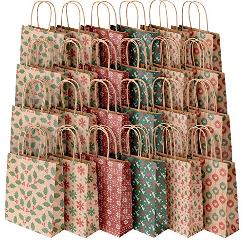 Sumille Christmas Gift Bags, Set of 24 Medium Kraft Paper Gift Bags with Handle and Prints for Christmas Gifts, Wedding, Party, Business, Crafts, Goodies, Ornaments, Presents, 9x7.3x3.3 inch]()