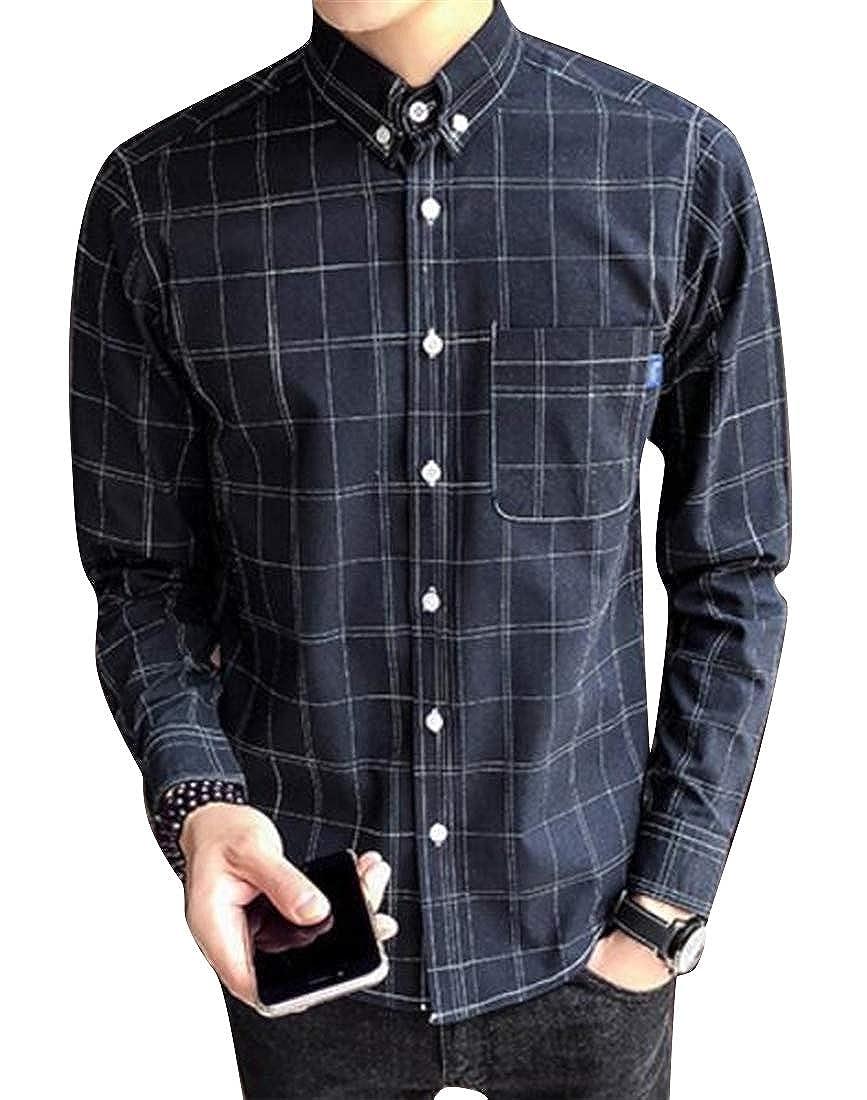 OTW Mens Classic Long Sleeve Cotton Plaid Button Up Dress Work Shirt