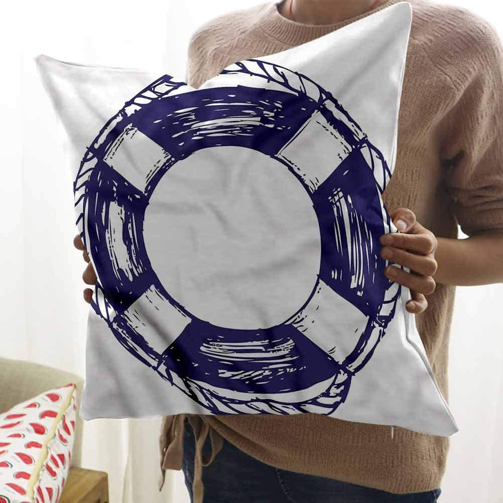 "HouseLook Blue and White Office Pillow Case Sketch Life Buoy Pillowcase Protecter with Zipper (12""x12"")"