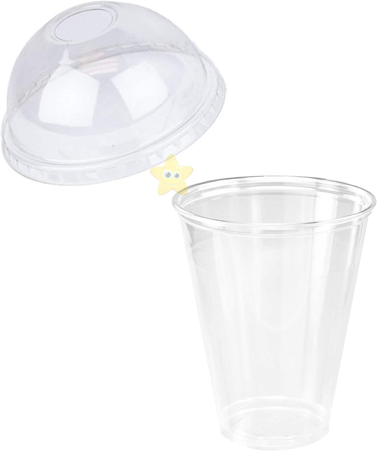 50pcs Milk Tea Cup Hard Plastic Disposable Drinking Transparent Takeaway Juice Cups with Lid for Iced Coffee Sodas 300ml