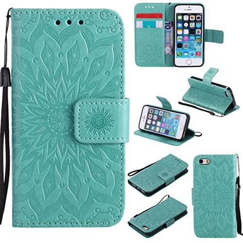 iPhone SE /iPhone 5S Case,Durable PU Leather Shockproof Magnetic Cover Flip Stand Wallet Card Holder Lightweight Bumper Folding Case Xmas Gift for Girl Lady for Apple iPhone SE -Sunflower Green