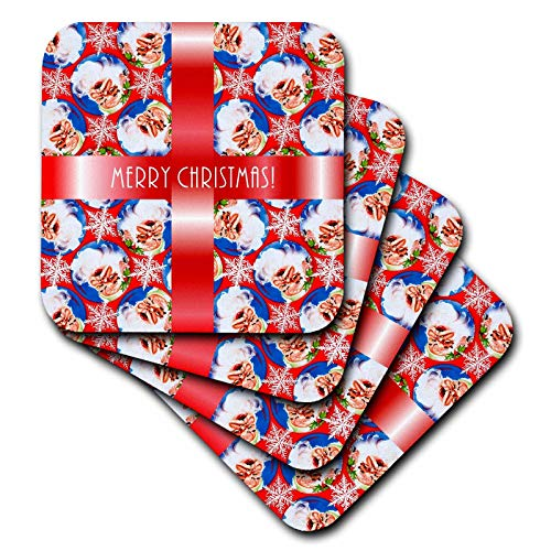 3dRose Russ Billington Christmas Designs - Image of Santa Wallpaper Background with white text on Red Ribbon - set of 8 Ceramic Tile Coasters (cst_298881_4)