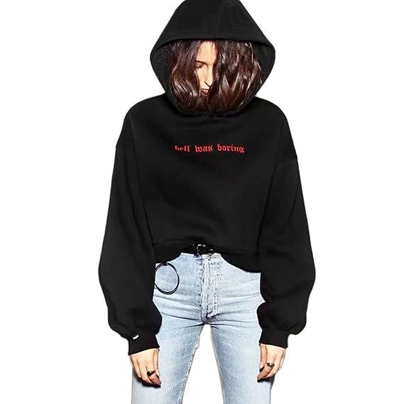 Germinate Schwarz Cropped Kapuzenpullover Damen Beiläufig Tumblr Kapuzen Sweatshirt Hoodie Pullover Pullis Teenager Mädchen