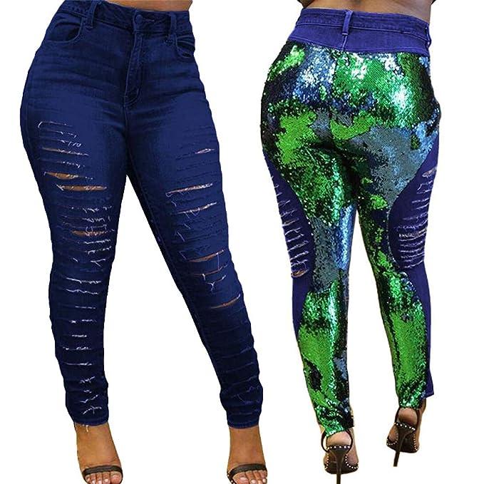 Amazon.com: Yanbirdfx - Pantalones vaqueros para mujer con ...
