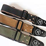 Muxico 1 PC Nail Cotton Leather Guitar Strap,3 Colors, Brown