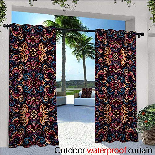 Glass Swirl Beaded - cobeDecor Ethnic Outdoor Blackout Curtains Hand Drawn Image with Oriental Rainbow Colored Floral Swirls Glass Pattern Image Outdoor Privacy Porch Curtains W72 x L96 Multicolor