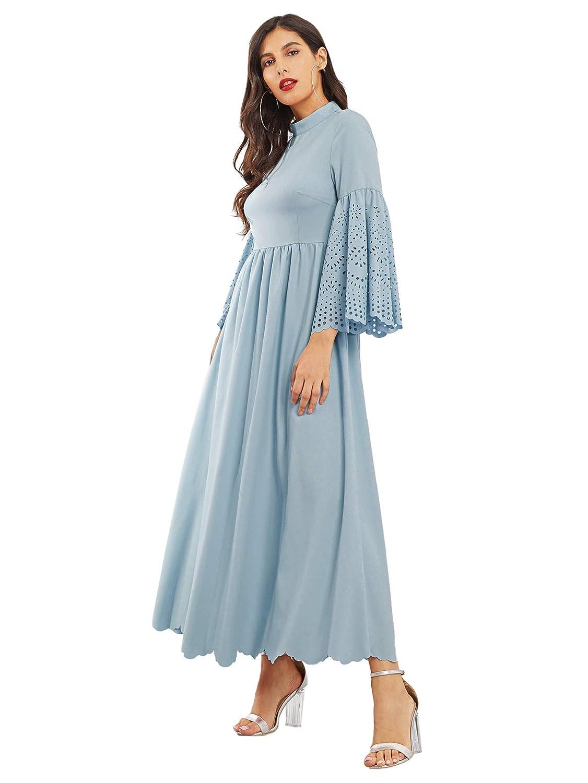 aa8eb6c293d81 Milumia Women's Scalloped Laser Cut Flounce Sleeve Hem Self Belted Maxi  Dress at Amazon Women's Clothing store: