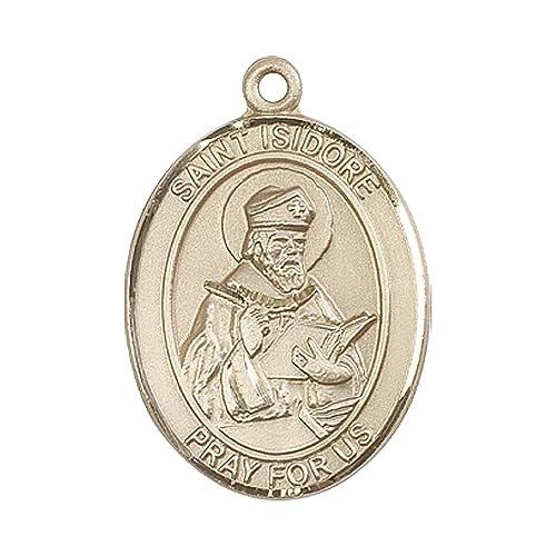 Amazon.com: 14 kt oro St. Isidoro De Sevilla Medalla ...