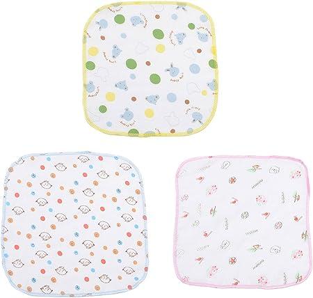 Kanggest 3Pcs Baberos del Algodón de la Historieta del Bebé Toalla de la Saliva del Cuadrado del Bebé para los Baberos del Bebé Quitababas Para Comer-24 * 24CM