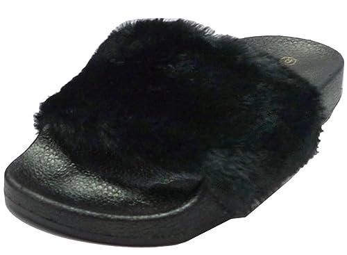 a9bd6d8a32f67 Wild Diva Women's Faux Fur Flip Flop Slide Flat Sandal