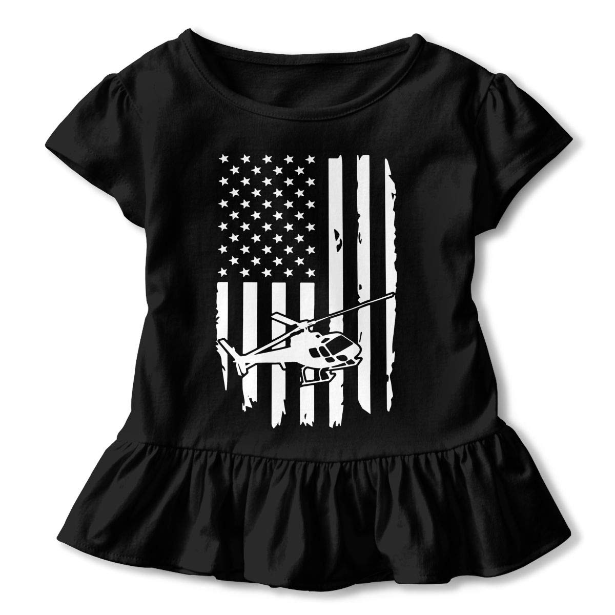2-Pack Cotton Tee Helicopter American Flag Baby Girls Short Sleeve Ruffles T-Shirt Tops