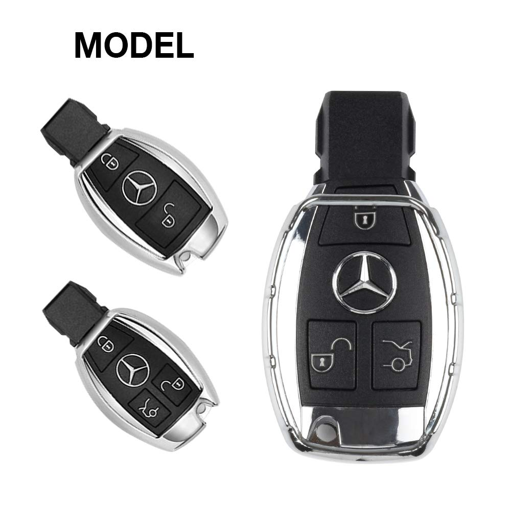 1797 Compatible Key Fob Mercedes Benz Accessories B C E S CLA CLS GLA GLC GLE Class W204 W205 W212 X156 W166 X253 Case Holder Cover Car Remote Chain Ring Shell Protector Women Men TPU Slowing Silver