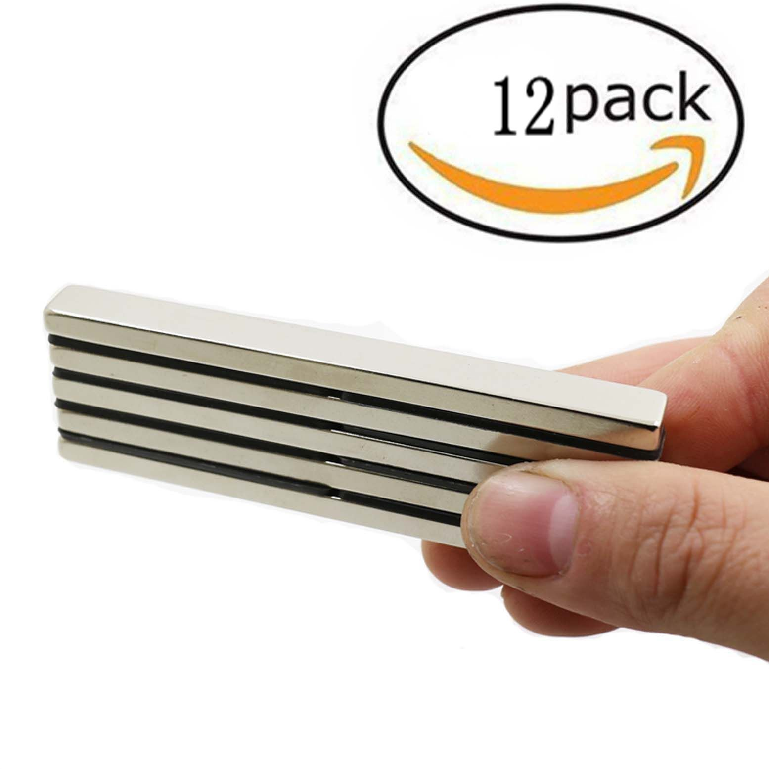 ZHW Powerful neodymium Bar Magnets, Rare-Earth Metal neodymium Magnet, N45, Incredibly Strong 33+ LB Strength - 60 x 10 x 4 mm (12 Pack) by ZHW (Image #1)