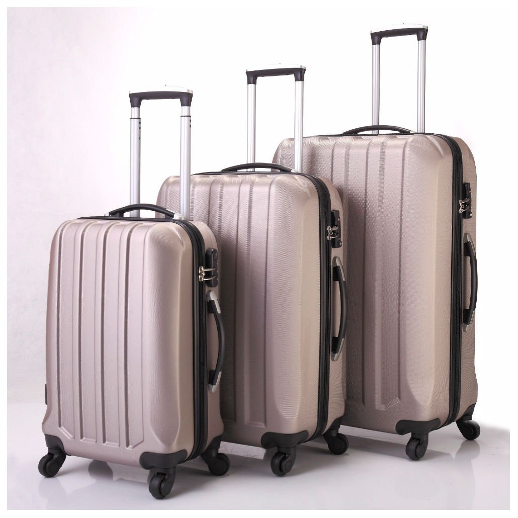 3 Pcs Luggage Travel Set Bag ABS Trolley Suitcase 4 Wheels Gold