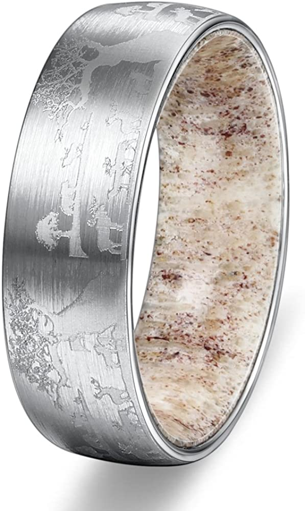 POYA 8mm Tungsten Ring Lasered Sika Deers Landscap Matte Mens Wedding Band with Antler Inlay
