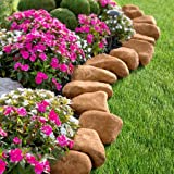 14 Pieces 10 Feet Long Border Realistc Stone Rock Look Stake Garden Path Outdoor Pathway Trail Flowerbed Walkway Edging Yard Decor (light brown)