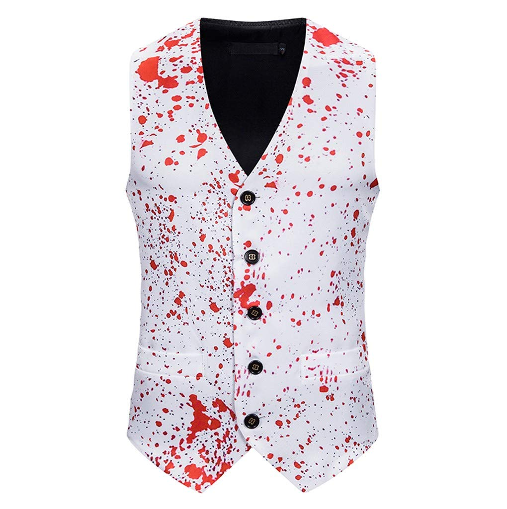 Men's Fashion Banquet Business Casual Christmas Printing Waistcoat Tops Vest White by Tigivemen Tops