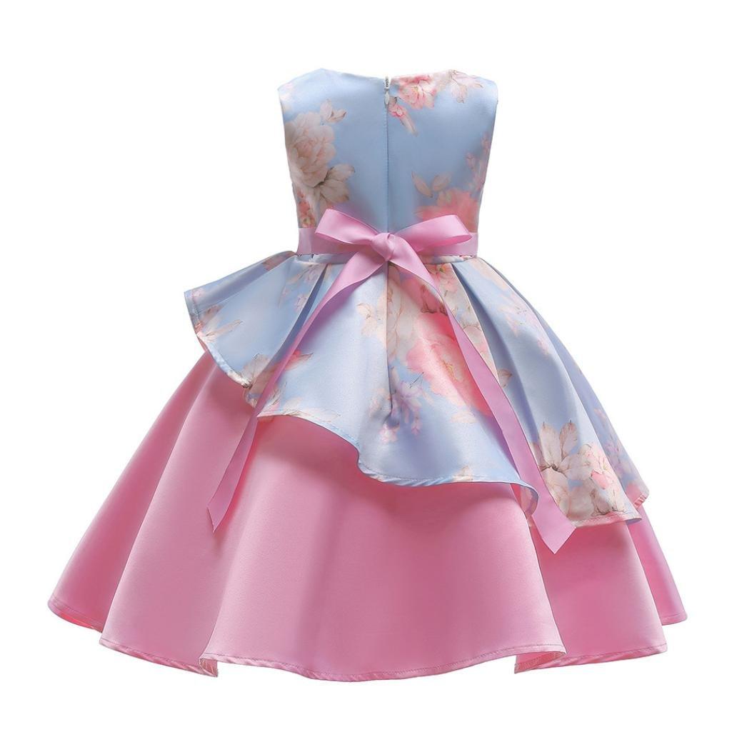 4debead42a4a KOLY Abito da Bambina Fantasia Floreale per Bambina Abito da Cerimonia  Nuziale della Damigella d Onore Compleanno Abito da Sposa Vestito Tutu  Balletto ...