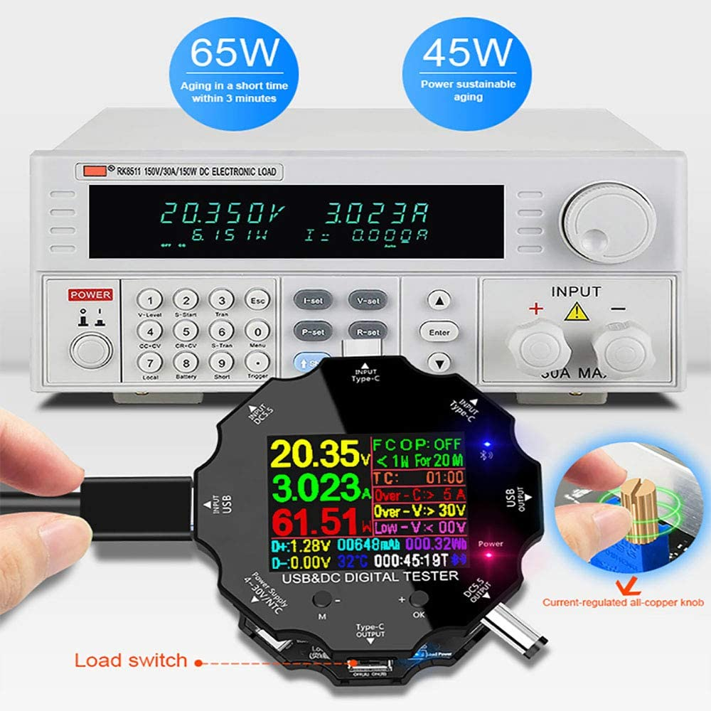 Bluetooth 65W Meter Tester USB Type-C Load Voltage Tester Multimeter Battery Tester Monitor Indicator Discharge Charge Plug And Play