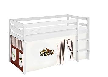 Etagenbett Hochbett Spielbett Kinderbett Jelle 90x200cm Vorhang : Lilokids jelle kw dinos braun spielbett hochbett