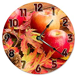 AUTUMN APPLES LEAVES Clock Large 10.5 Wall Clock Decorative Round Circle Clock Home Decor FALL SEASON, HOLIDAY SEASON