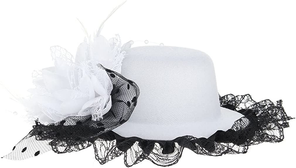 GEMVIE Girls Flower Lace Feather Fascinator Hair Clip Mini Top Hat