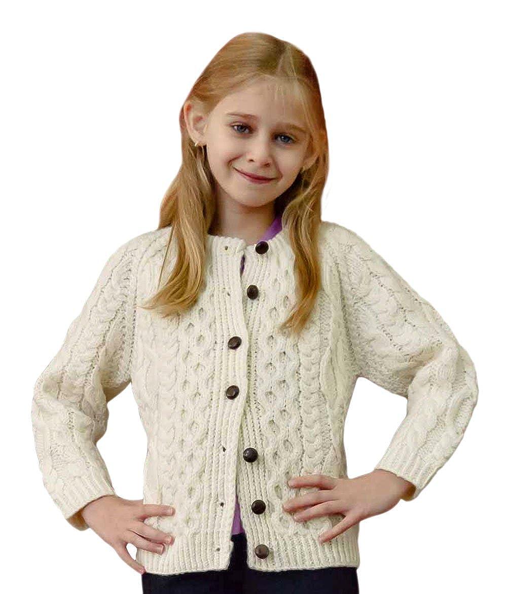 Childrens Aran Wool Cardigan Carriag Donn R607669