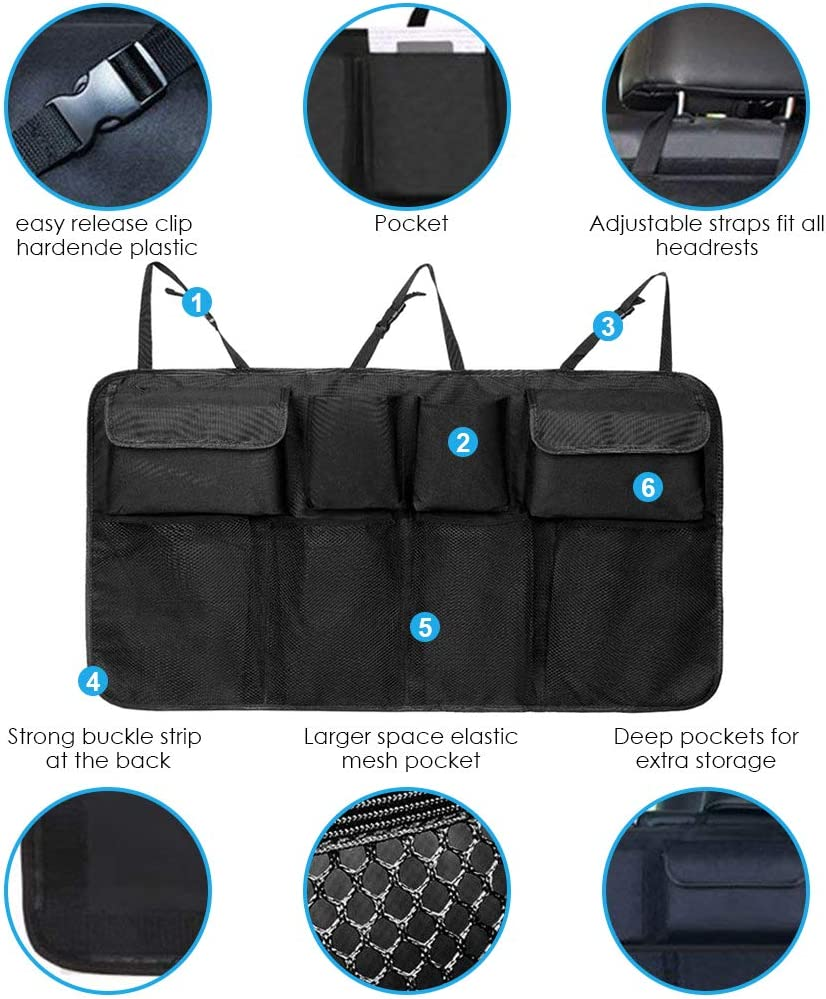 Carperipher Back Seat Trunk Organizer for Car Grey Auto Hanging Trunk Backseat Car Storage Bag Pouch with 8 Large Capacity Pockets and Adjustable Strap for SUV Trunk Cargo Organizer