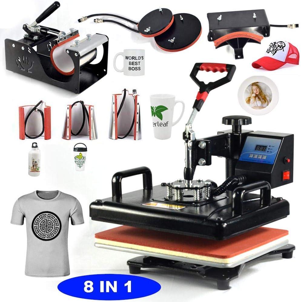 8 in 1 Swing Away New 8 in 1 Heat Press Machine Digital Combo Heat Transfer Sublimation Print Machine T-Shirts//Mug//Plate//Cap//Cup Swing Away Heat Transfer Machine