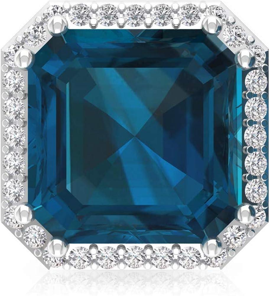4,2 ct azul topacio London Pendiente, forma de Asscher Pendiente declaración, IGI certificado de diamante, HI-SI, pendientes de novia de diamante, tornillo hacia atrás, 18K Oro