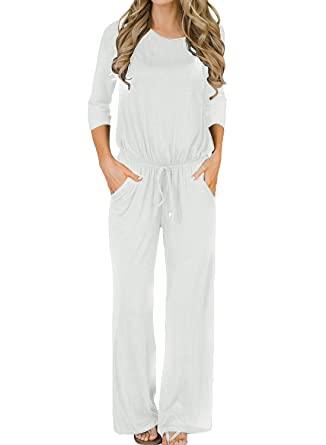 c23d54d7ce9 Amazon.com  MIHOLL Women s Loose Jumpsuit Casual 3 4 Sleeve Wide Legs Long  Jumpsuit Rompers  Clothing