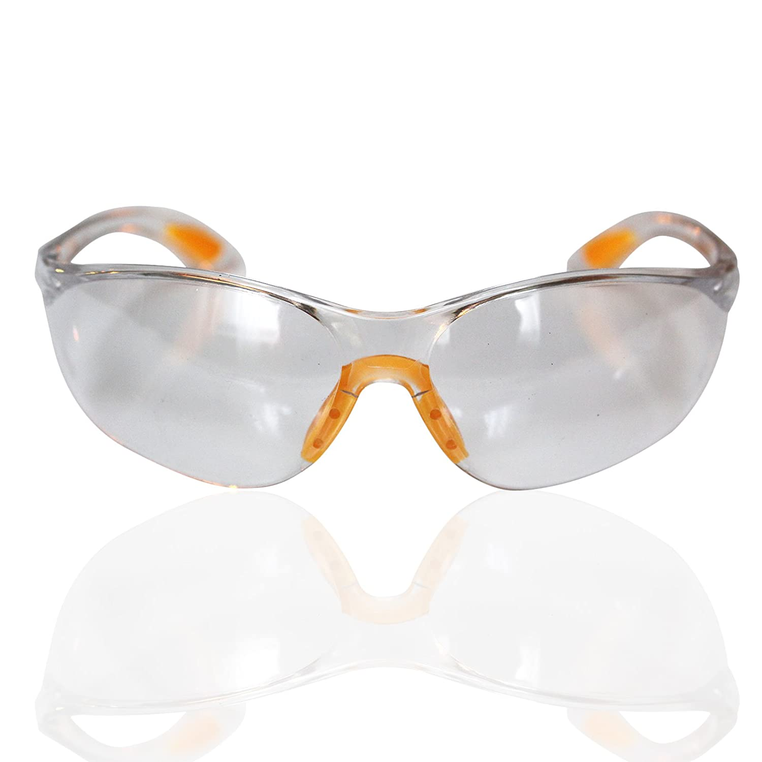 Safety Glasses 12 Piece Pack of Protective Glasses,Safety Goggles Eyewear Eyeglasses for Eye Protection with Clear Plastic Lenses and Featuring Rubber Nose And Ear Grips for a Comfortable Fit